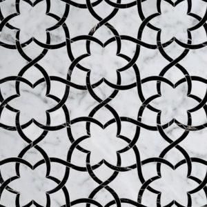 White Carrara, Black Multi Finish Isidore Marble Waterjet Decos