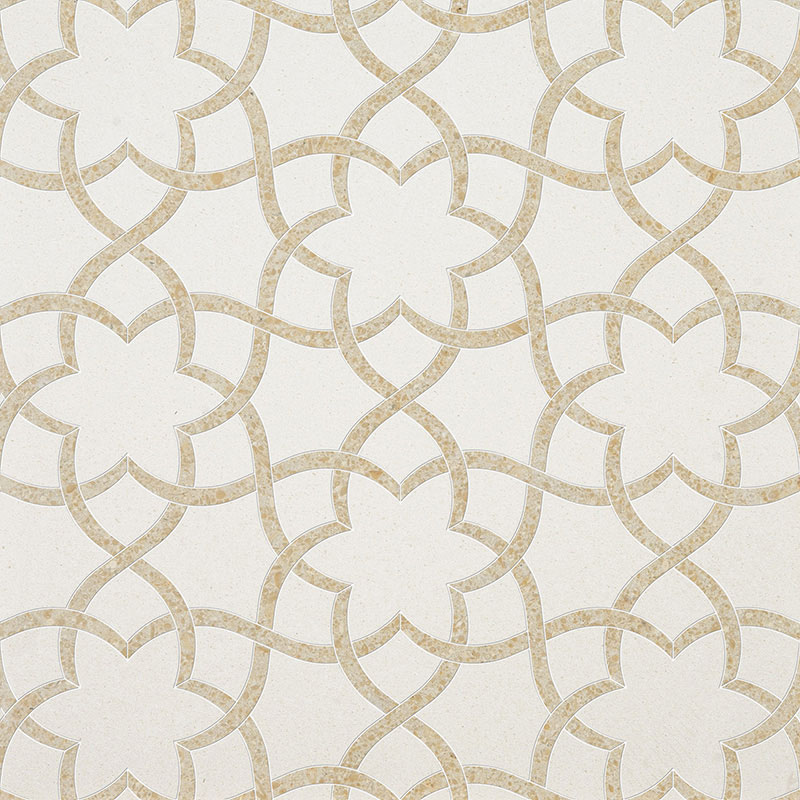 Champagne, Seashell Multi Finish 31,68x36,56 Isidore Limestone Waterjet Decos