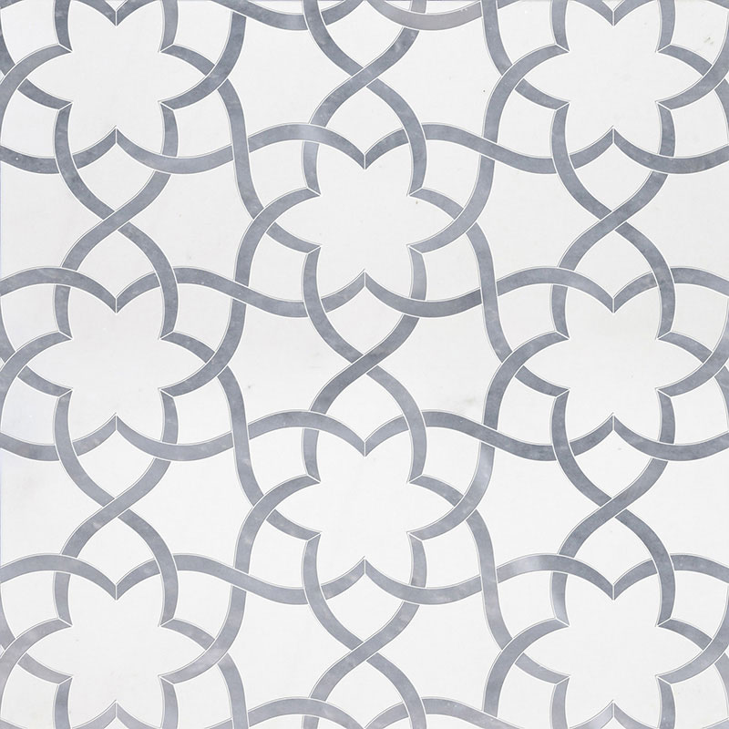 Aspen White, Allure Light Polished 31,68x36,56 Isidore Marble Waterjet Decos