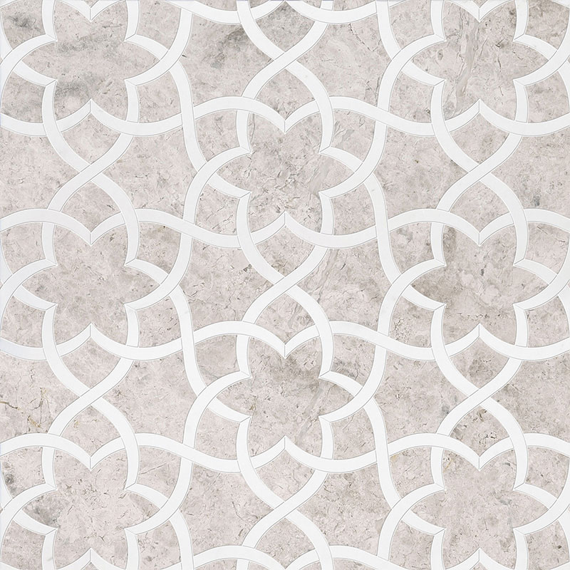Silver Shadow, Aspen White Multi Finish 31,68x36,56 Isidore Marble Waterjet Decos