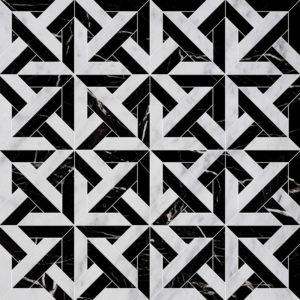 White Carrara, Black Multi Finish Marmara Marble Waterjet Decos