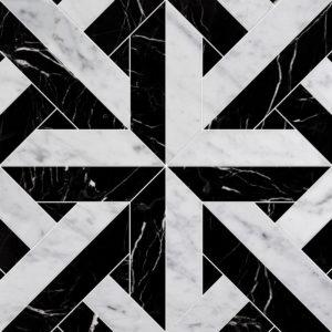 White Carrara, Black Multi Finish Rubicon Marble Waterjet Decos
