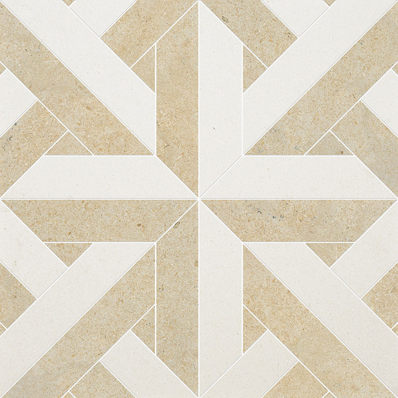 Champagne, Seashell Multi Finish 43,18x43,18 Rubicon Limestone Waterjet Decos