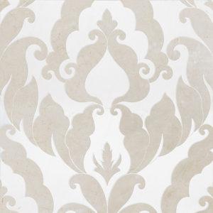 Crema Bella, Thassos White Or Aspen Whit Polished Rumi Marble Waterjet Decos
