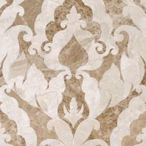 Diana Royal, Paradise Polished Rumi Marble Waterjet Decos 34,44x45,7
