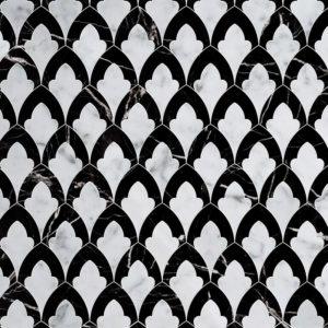 White Carrara, Black Multi Finish Sophia Marble Waterjet Decos