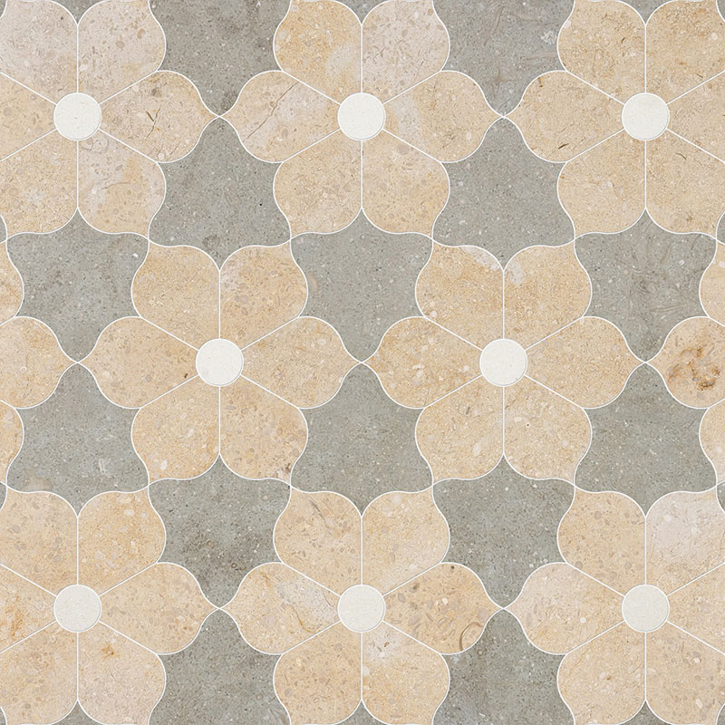 Champagne, Seashell, Olive Green Multi Finish 30,81x35,56 Theodora Limestone Waterjet Decos