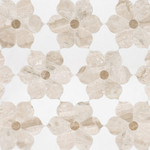 Diana Royal, Aspen White, Paradise Multi Finish Theodora Marble Waterjet Decos 30,81x35,56