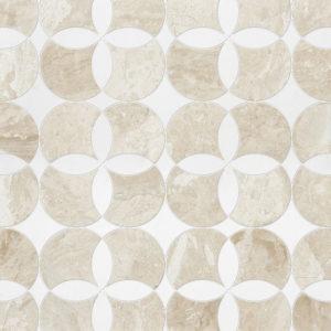 Diana Royal, Aspen White Multi Finish Constantine Marble Waterjet Decos 34,52x34,52