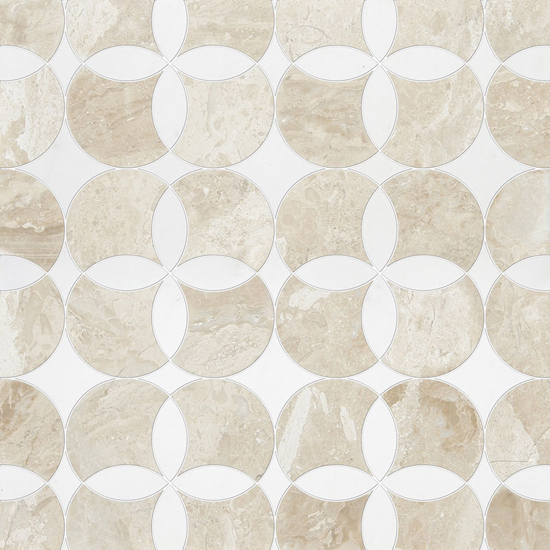 Diana Royal, Aspen White Multi Finish 34,52x34,52 Constantine Marble Waterjet Decos