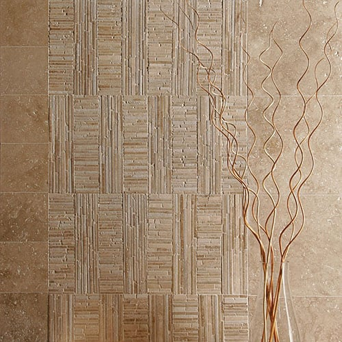 IVORY HONED BALI MOSAIC TRAVERTINE MOSAICS (MS00632) WALNUT DARK HONED&FILLED TRAVERTINE TILES (TL10173)