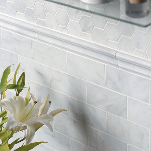 GLACIER HONED HEXAGON MARBLE MOSAICS (MS00677) GLACIER HONED MARBLE TILES (TL13302) GLACIER HONED ANDORRA MARBLE MOLDINGS (ML00505)
