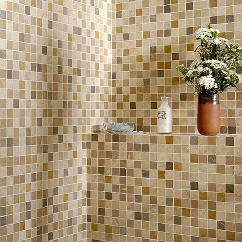 ASPEN DUSK HONED&FILLED 1X1 TRAVERTINE MOSAICS (MS00740)