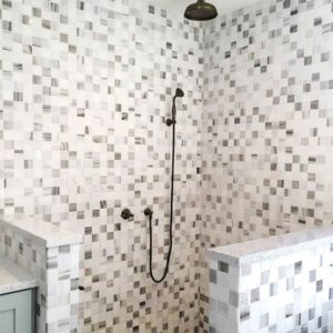 VERONA POLISHED 1X1 MARBLE MOSAICS (MS01027) SNOW WHITE HONED MARBLE TILES (TL14367)
