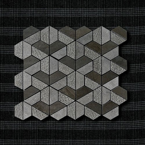 BOSPHORUS TEXTURED 3D HEXAGON LIMESTONE MOSAICS (MS01267)