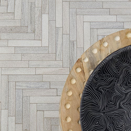 SKYLINE FULL GRAIN LARGE HERRINGBONE MARBLE MOSAICS (MS01509)