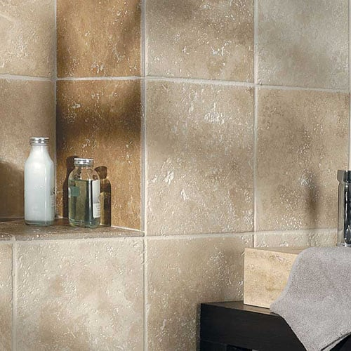 IVORY ANTIQUED TRAVERTINE TILES (TL10417) WALNUT DARK ANTIQUED TRAVERTINE TILES (TL10292)