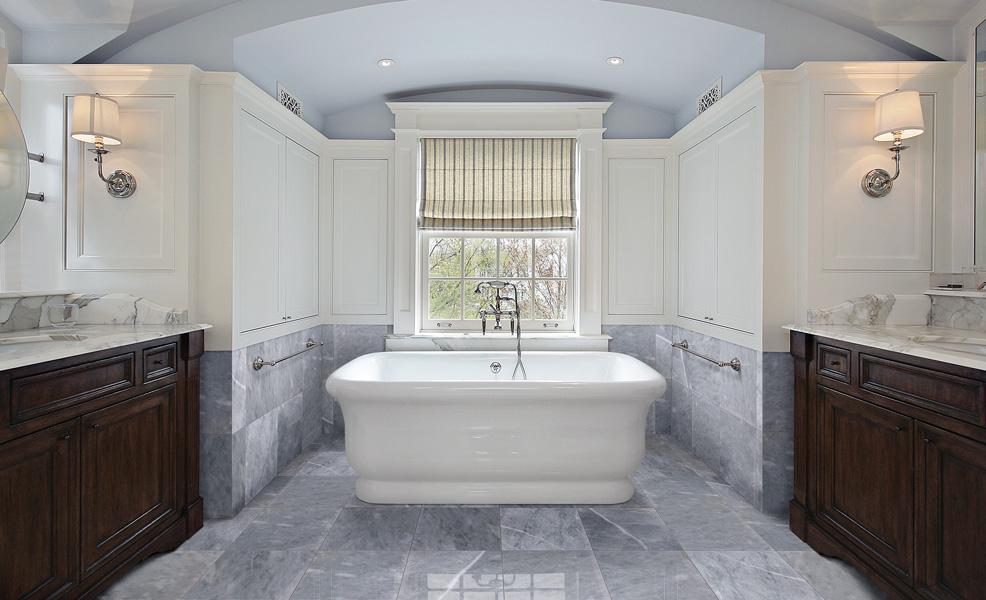 Gray marble bathroom